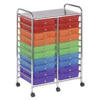 Ecr4Kids 20-Drawer Double-Wide Mobile Organizer-Assorted