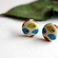 Leaf Fabric Stud Earrings - Small | Luulla
