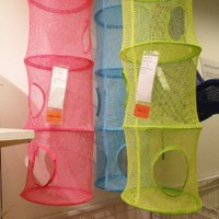 6 Tier Hanging Mesh Storage Closet Organizer Kids Room Unit Pink