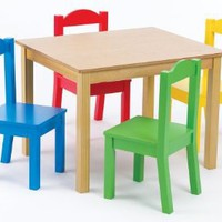 Tot Tutors Kids' Table and 4-Chair Set, Primary Wood