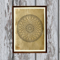 Esoteric symbol Magic mandala print Occult illustration Antique paper Antiqued decoration 8.3 x 11.7 inches