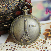 unique antique style pocket watch necklace long necklace women's metal chain necklace  T070