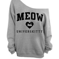 Meow Universkitty Cat Shirt - Gray Slouchy Oversized CREW Sweatshirt