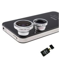 3 in 1 Camera Lens Kit Designed for Apple iPhone 4 4S iPad (Fish Eye Lens, Wide Angle + Micro Lens) w/ AGPtek USB 2.0 All in One Card Reader