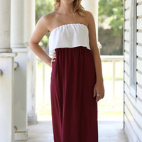 Maroon and White Ruffle Maxi