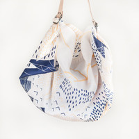 Mountain Blossom Furoshiki & Tan Leather Carry Strap Set