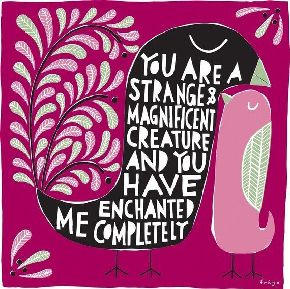 $5.00 Strange and Magnificent  Greeting Card by FreyaArt on Etsy