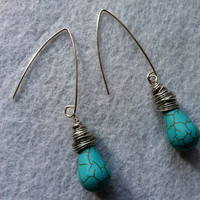 Turquoise Drop Earrings by AdornmentsfromDeb on Etsy