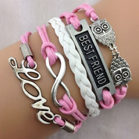 infinity hearts bracelet best friend bracelet with soft ropes women jewelry bracelet bangle friendship gift  T067