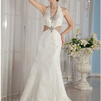 Unique Sexy Beading Halter Deep V-neck Chapel Train Lace Wedding Dress