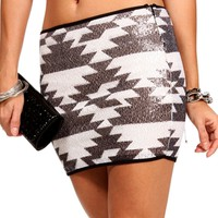 BlackIvory Sequin Tribal Skirt