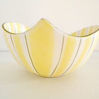 Mid Century Bowl Yellow Stripes White Gold 1940s Embassy Quality Products