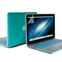 3in1 13 Macbook Pro RETINA Turquoise Blue Frosted Rubber Coated See-through Hard Shell Case