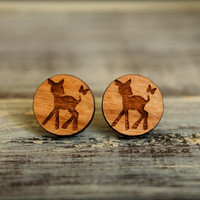 Fawn and Butterfly Disc Studs, Laser Cut Wood Earrings