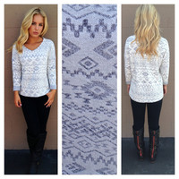 Grey Tribal Terrycloth Texture Sweater Top
