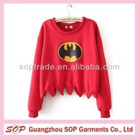 personality bat printing irregular bottom round collar brief paragraph long sleeve ladies hoodies, View ladies hoodies, SOP Product Details from Guangzhou SOP Garments Co., Ltd. on Alibaba.com