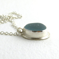 Sea Glass Necklace Pendant Seafoam Blue HELENE