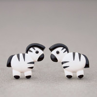Zebra Earrings - Safari Animals Polymer Clay - Zoo Animals Studs Jewelry Accessories
