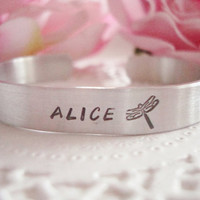 "Name And  Dragonfly Hand Stamped 3/8"" Cuff Bracelet Made To Order"