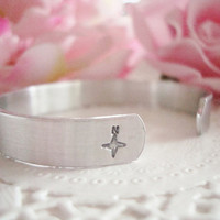 Go To Where Life Takes You Hand Stamped Cuff Bracelet Made To Order Compass Design Stamp At The End Of Cuff