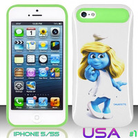 USA Design #1 IPhone 5 5S Glow in Dark Case # smurfs 2 @ Cover for IPhone 5 5S