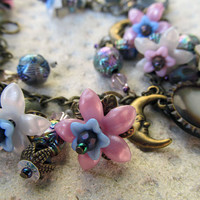 SALE Moon Charm Bracelet, with Vintage Buttons and Flowers