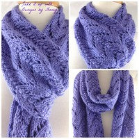 Lacy Lavender Blue Hand Knit Long Scarf Caron Simply Soft Yarn
