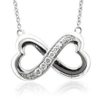 Sterling Silver Infinity Heart 7 Stone Diamond Pendant Necklace (GH, I1-I2, 0.25 carat)