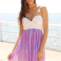 Lilac Strapless Dress with White Bodice and Pleated Skirt