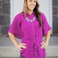 Fuchsia Tie Waist Capelet Button Down Top