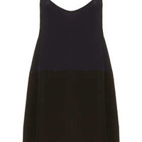 Contrast Panel Silk Dress by Boutique - Dresses  - Clothing