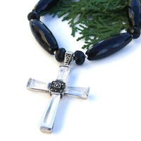 Sterling Swarovski Crystal Cross Handmade Necklace Black Onyx Jewelry