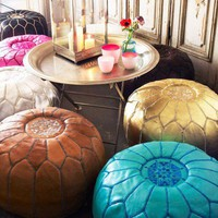 Moroccan Leather Pouffes - Pouffes &amp; Bean Bags - Furniture
