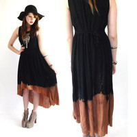 Vintage gauzy Ombré bleached Black festival Dress (high-low, fishtail hem) witchy goth grunge