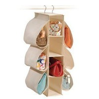 "Natural Canvas Hanging Purse Organizer (Natural Canvas) (30""H x 6""W x 14""D)"