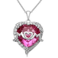 "Sterling Silver Created Pink and Created White Sapphire and Diamond Raised ""Mom"" Heart Pendant, 18"""
