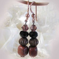 Dangle Earrings Sesame Jasper Crystals Antiqued Copper Red Black