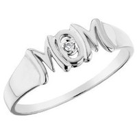 MOM Ring with Diamond in 10K White Gold, Size 6
