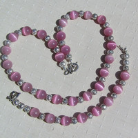"Necklace & Bracelet Set - Pink Cat's Eye and Sterling Silver - ""Frosted Sugar"""