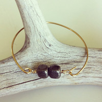 Pyrite stones and gold plate wire bangle by miskwill on Etsy