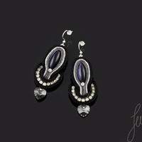 Black, sparkle handcrafted earrings, sterling silver earwires, soutache black jewelry