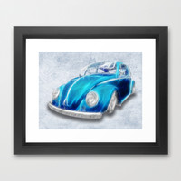 VW Beetle Blue Framed Art Print by Alice Gosling