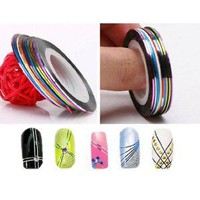 Nail Tape Stripe Decoration Sticker Hologram, Set of 10