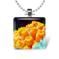 Jonquil yellow sun corals glass keychain or necklace reef underwater