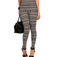 White/Black Tribal Print Leggings