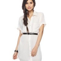 Sheer Georgette Shirtdress w/ Belt | FOREVER21 - 2000039892