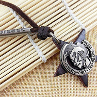 soft leather necklace, metal pendant men leather long necklace, women leather necklace  T053