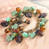 Amber Brown and Turquoise Blue Autumn Bracelet  Antique Gold Bracelet  Golden Autumn Leaf Bracelet