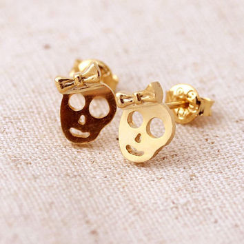 gold skull ribbon stud earrings by bythecoco on Etsy