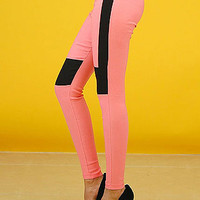 Skinny Pants - Cute Pants - Colorblock Coral Pants - $20.80